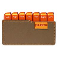 Pilbox mini pilulier semainier taupe orange