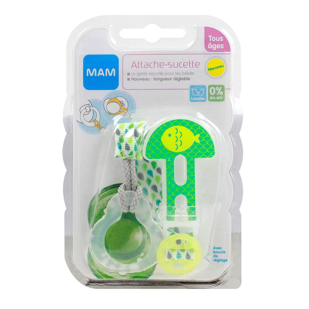 coloris al/éatoire compatible avec toutes les sucettes MAM Attache-sucette de longueur r/églable MAM Attache-sucette