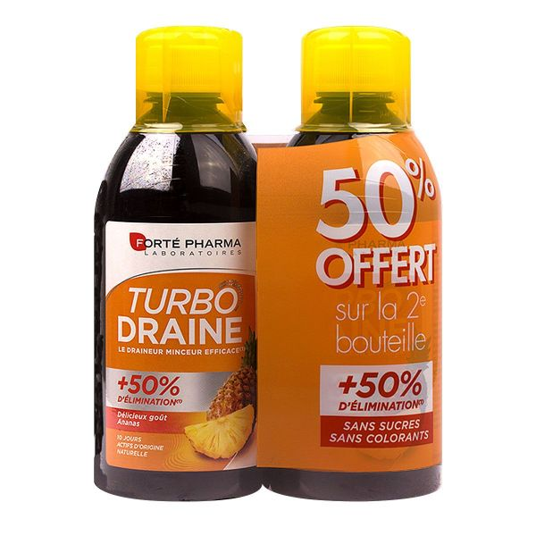Turbodraine solution buvable 2x500ml - goût ananas